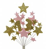 Number age 13th birthday cake topper decoration in gold and pale pink - free postage